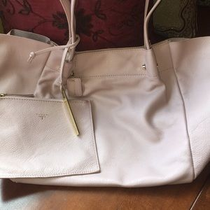 T Tahari Blush Pink smooth pebble leather tote